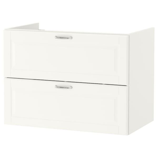 GODMORGON Szafka pod umywalkę z 2 szufladami, Kasjön biały, 80x47x58 cm