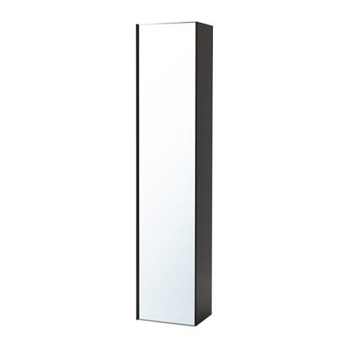 Godmorgon szafka wysoka drzwi lustrzane po ysk szary ikea for Miroir 60 cm de large