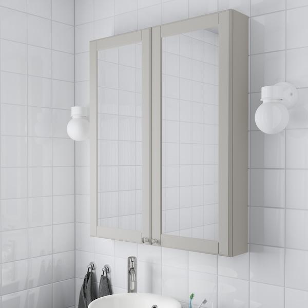 GODMORGON Szafka z lustrem i drzwiami, Kasjön jasnoszary, 80x14x96 cm