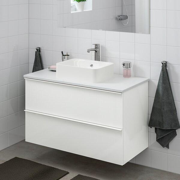 GODMORGON/TOLKEN / HÖRVIK szafka z blatem i umywalką 45x32 cm połysk biały/marmur Bateria Brogrund 102 cm 100 cm 49 cm 72 cm
