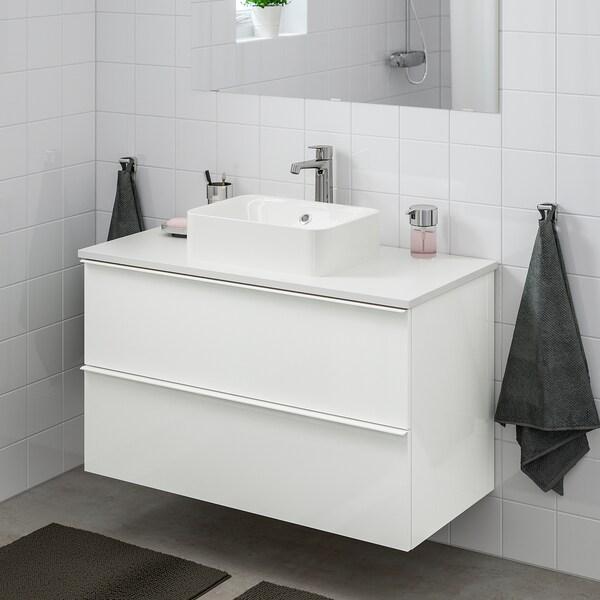 GODMORGON/TOLKEN / HÖRVIK szafka z blatem i umywalką 45x32 cm połysk biały/biały Bateria Brogrund 102 cm 100 cm 49 cm 72 cm