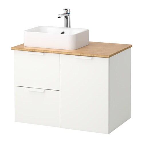 godmorgon tolken h rvik szafka z umywalk 45x32 bambus bia y ikea. Black Bedroom Furniture Sets. Home Design Ideas