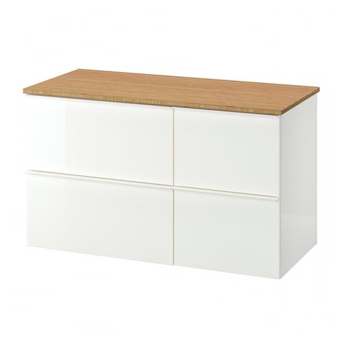 GODMORGON / TOLKEN szafka pod umywalkę z 4 szufladami połysk biały/bambus 102 cm 49 cm 60 cm