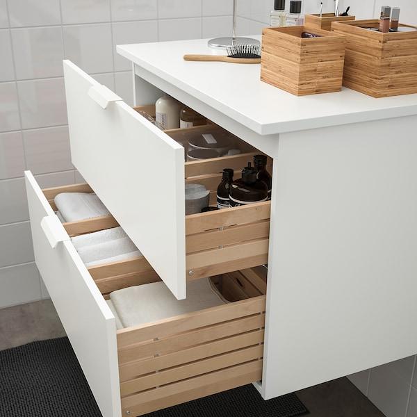 GODMORGON / TOLKEN Szafka pod umywalkę z 2 szufladami, biały/biały, 82x49x60 cm