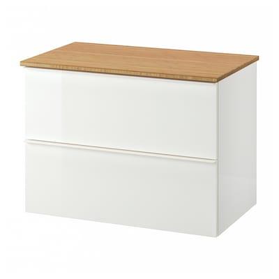 GODMORGON / TOLKEN Szafka pod umywalkę z 2 szufladami, połysk biały/bambus, 82x49x60 cm