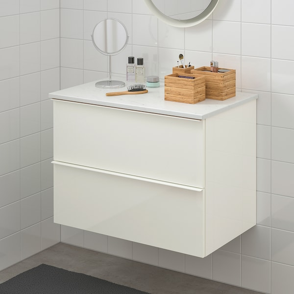 GODMORGON / TOLKEN Szafka pod umywalkę z 2 szufladami, połysk biały/imitacja marmuru, 82x49x60 cm