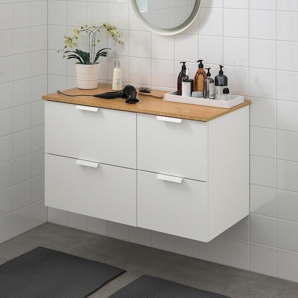 GODMORGON / TOLKEN Szafka pod umywalkę z 4 szufladami, biały/bambus, 102x49x60 cm