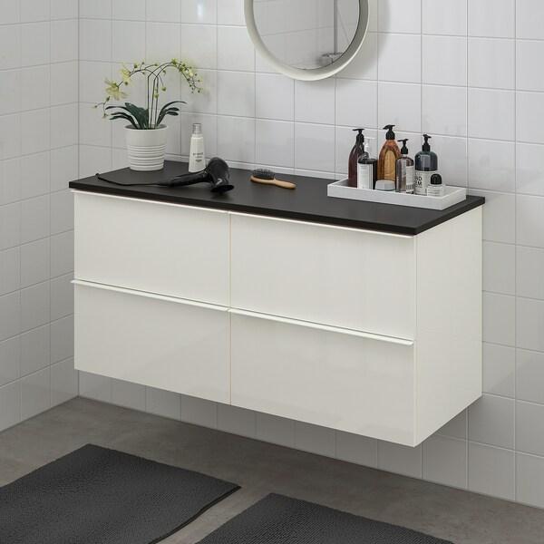 GODMORGON / TOLKEN Szafka pod umywalkę z 4 szufladami, połysk biały/antracyt, 122x49x60 cm