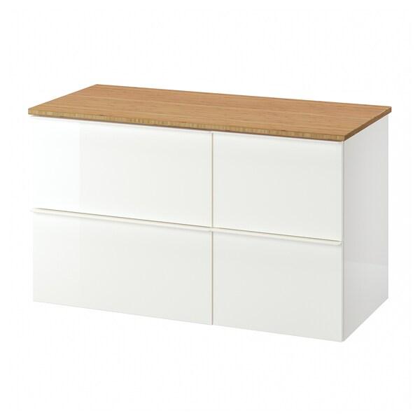 GODMORGON / TOLKEN Szafka pod umywalkę z 4 szufladami, połysk biały/bambus, 102x49x60 cm