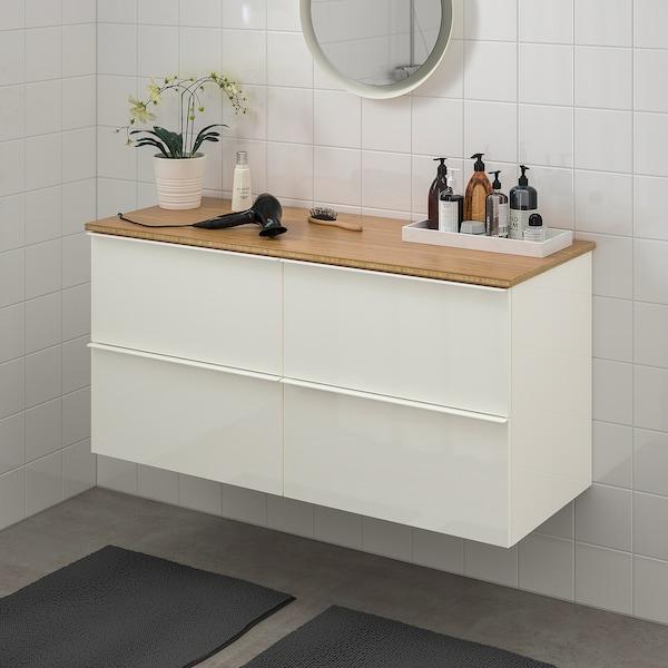 GODMORGON / TOLKEN Szafka pod umywalkę z 4 szufladami, połysk biały/bambus, 122x49x60 cm