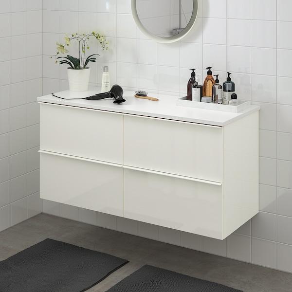 GODMORGON / TOLKEN Szafka pod umywalkę z 4 szufladami, połysk biały/biały, 122x49x60 cm