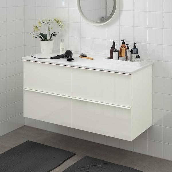 GODMORGON / TOLKEN Szafka pod umywalkę z 4 szufladami, połysk biały/imitacja marmuru, 122x49x60 cm
