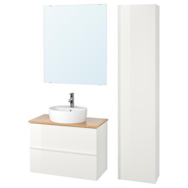 GODMORGON/TOLKEN / TÖRNVIKEN Meble łazienkowe, zest. 6 szt., połysk biały/bambus bateria Dalskär, 82 cm