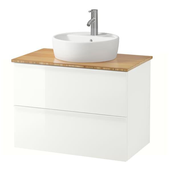 GODMORGON/TOLKEN / TÖRNVIKEN Szafka z blatem i umywalką 45cm, połysk biały/bambus bateria Dalskär, 82x49x74 cm