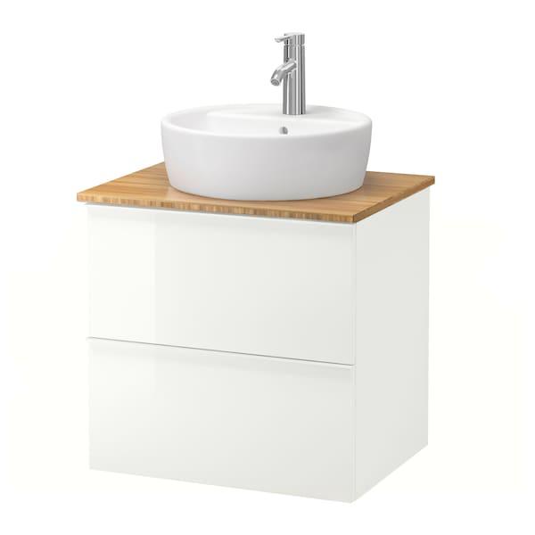 GODMORGON/TOLKEN / TÖRNVIKEN Szafka z blatem i umywalką 45cm, połysk biały/bambus bateria Dalskär, 62x49x74 cm