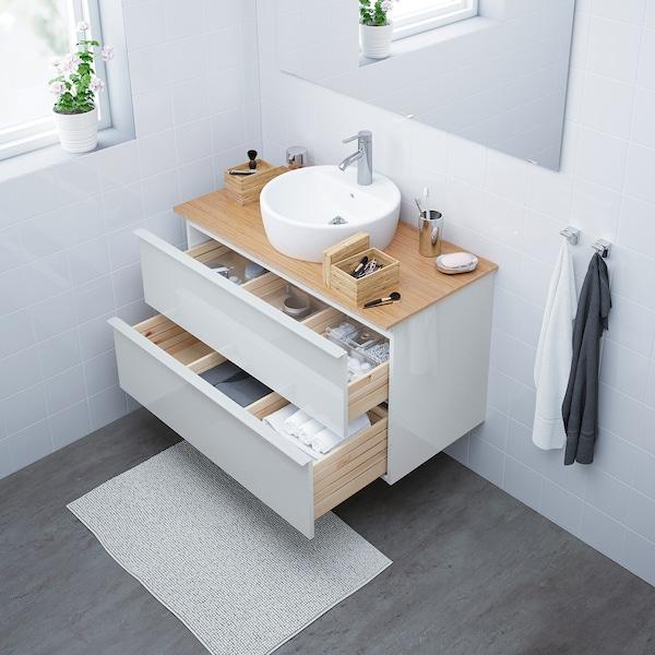 GODMORGON/TOLKEN / TÖRNVIKEN Szafka z blatem i umywalką 45cm, połysk biały/bambus bateria Dalskär, 102x49x74 cm