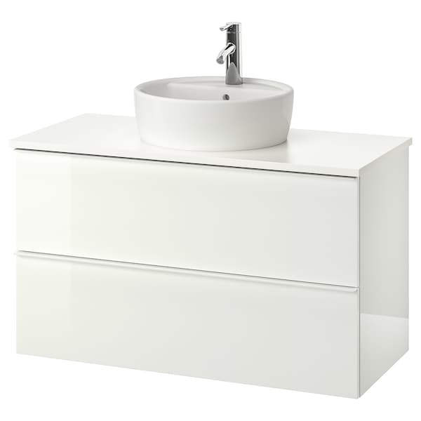 GODMORGON/TOLKEN / TÖRNVIKEN Szafka z blatem i umywalką 45cm, połysk biały/biały bateria Dalskär, 102x49x74 cm