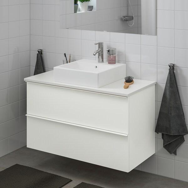 GODMORGON/TOLKEN / TÖRNVIKEN szafka z blatem i umywalką 45x45 cm połysk biały/biały bateria Dalskär 102 cm 82 cm 49 cm 72 cm
