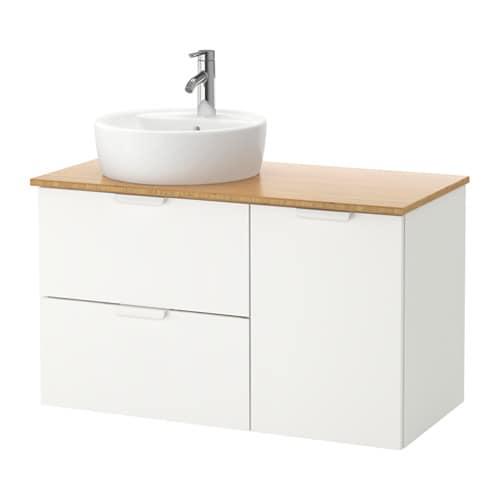 godmorgon tolken t rnviken szafka z umywalk 45 cm bambus bia y ikea. Black Bedroom Furniture Sets. Home Design Ideas