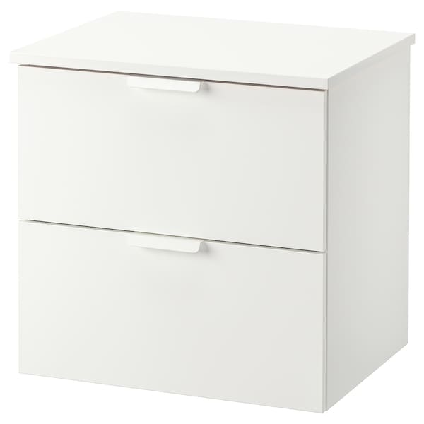 GODMORGON / TOLKEN szafka pod umywalkę z 2 szufladami biały/biały 62 cm 49 cm 60 cm