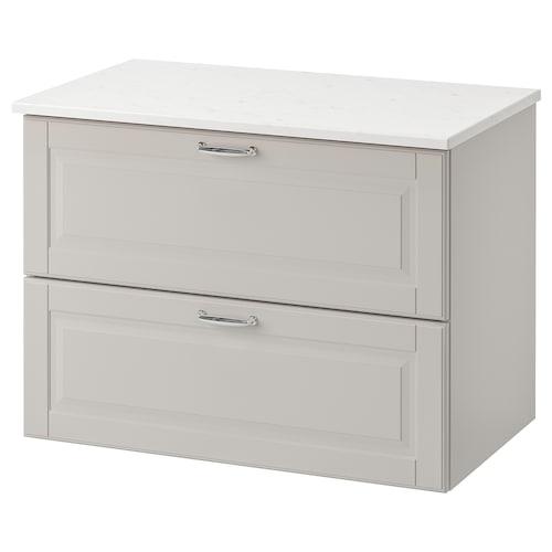 GODMORGON / TOLKEN szafka pod umywalkę z 2 szufladami Kasjön jasnoszary/imitacja marmuru 82 cm 49 cm 60 cm