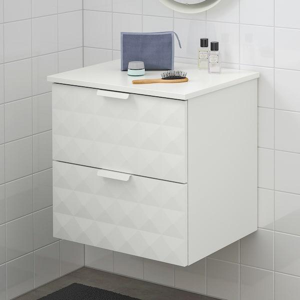 GODMORGON / TOLKEN szafka pod umywalkę z 2 szufladami Resjön biały/biały 62 cm 49 cm 60 cm