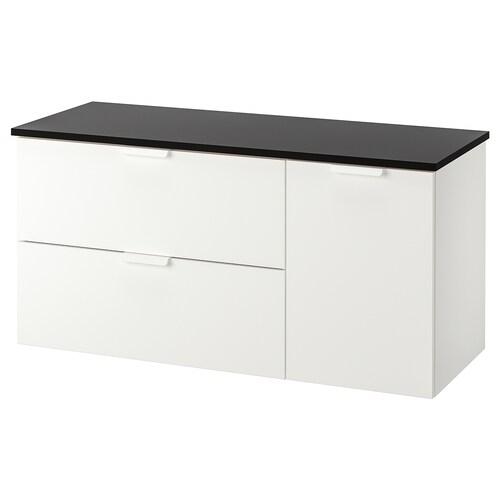 GODMORGON / TOLKEN szafka pod umywalkę z 3 szufladami biały/antracyt 122 cm 49 cm 60 cm