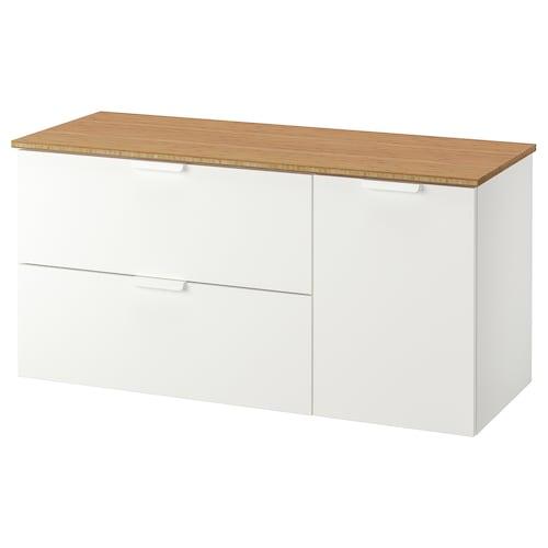GODMORGON / TOLKEN szafka pod umywalkę z 3 szufladami biały/bambus 122 cm 49 cm 60 cm
