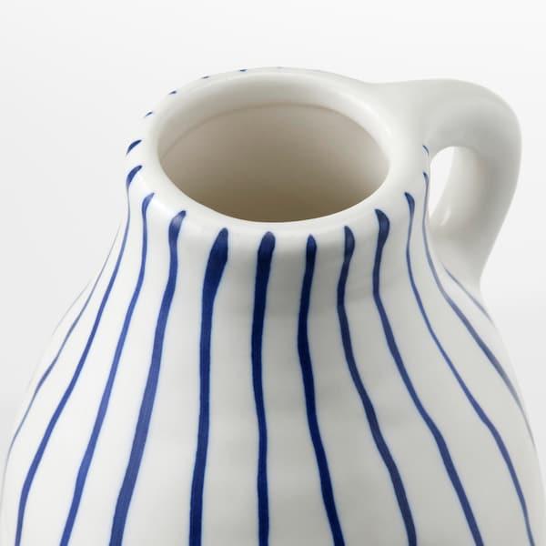 GODTAGBAR Wazon, ceramika biały/niebieski, 14 cm