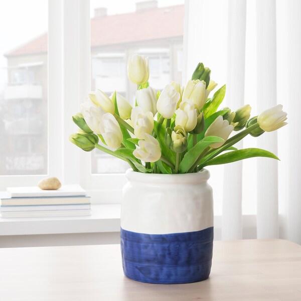 GODTAGBAR Wazon, ceramika biały/niebieski, 18 cm
