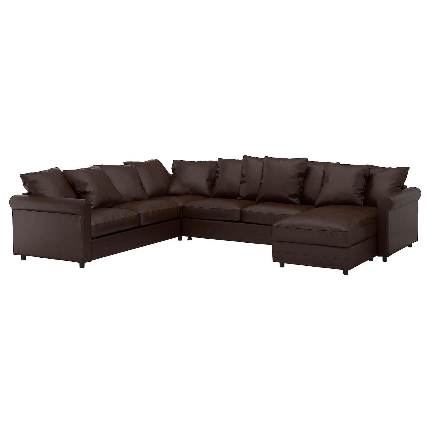 IKEA GRÖNLID Narożna sofa rozkł, 5-os, z szezlongiem, Kimstad ciemnobrązowy