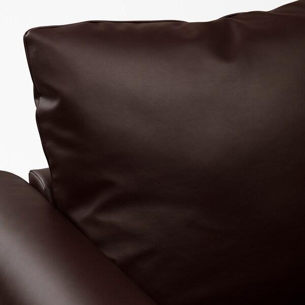 GRÖNLID Rozkładana sofa 3-osobowa, z otwartym końcem/Kimstad ciemnobrązowy