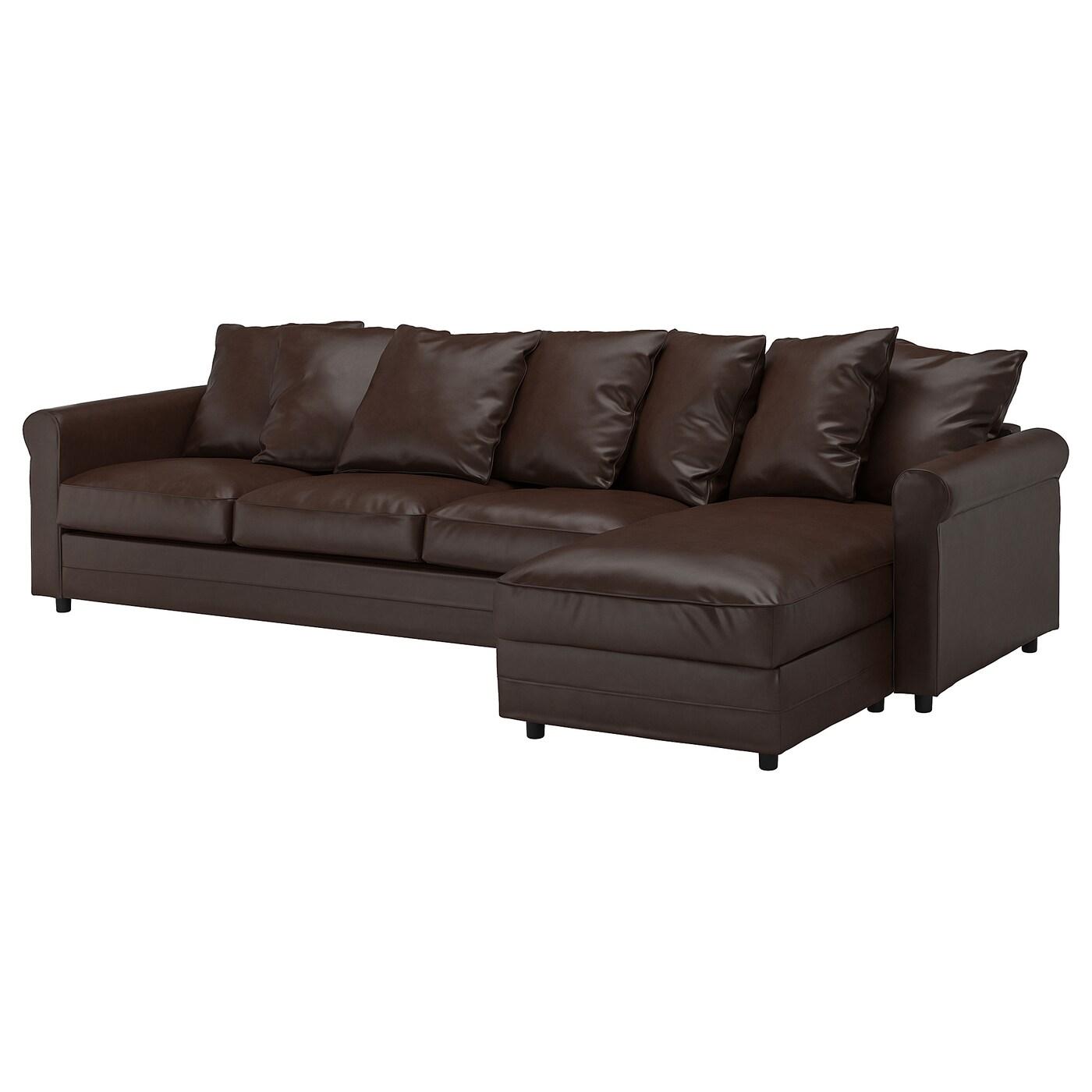 IKEA GRÖNLID Sofa 4-osobowa, z szezlongiem, Kimstad ciemnobrązowy