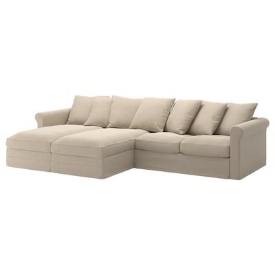 GRÖNLID Sofa 4 osobowa z szezlongiem, Sporda naturalny