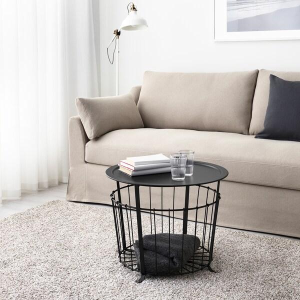 GUALÖV Stolik z miejscem do przechowywania, czarny, 60 cm