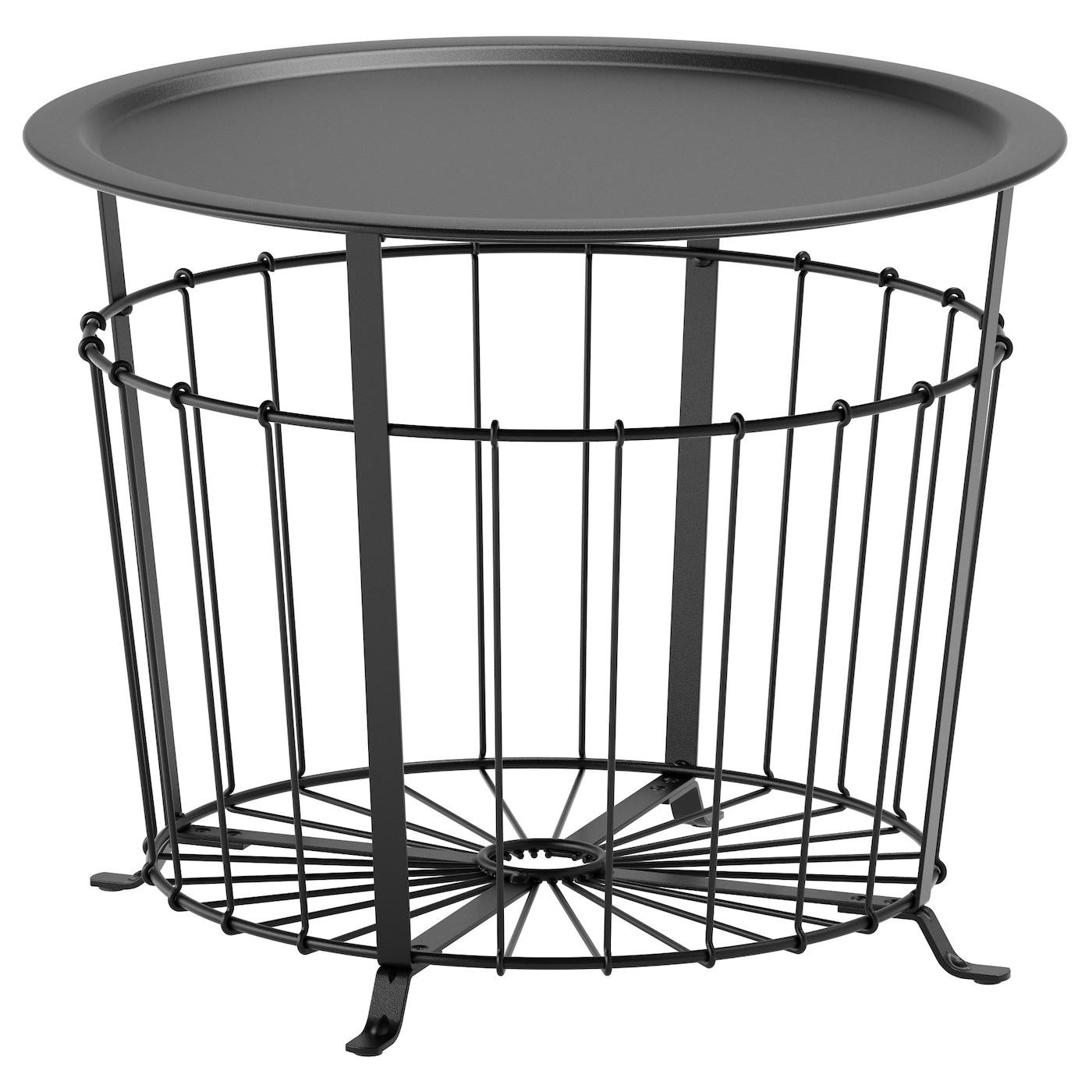 IKEA GUALÖV czarny stolik z miejscem do przechowywania, średnica 60 cm