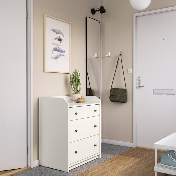 HAUGA Komoda, 3 szuflady, biały, 70x84 cm