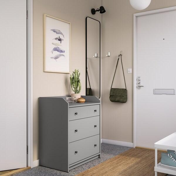 HAUGA Komoda, 3 szuflady, szary, 70x84 cm