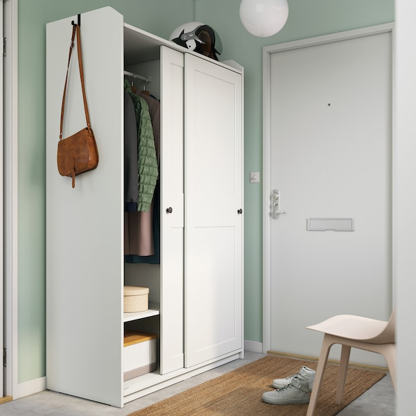 HAUGA Szafa z drzwiami przesuwanymi, biały, 118x55x199 cm