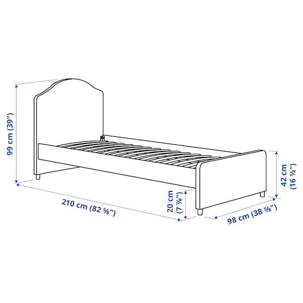 HAUGA Tapicerowana rama łóżka, Vissle szary, 90x200 cm