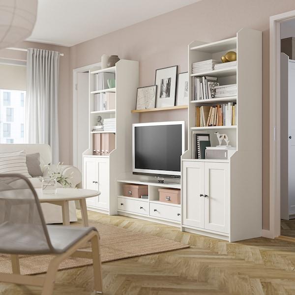 HAUGA TV/kombinacja regałowa, biały, 277x46x199 cm