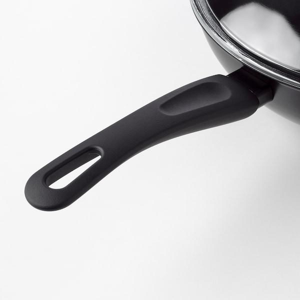HEMLAGAD Wok z pokrywką, czarny, 28 cm