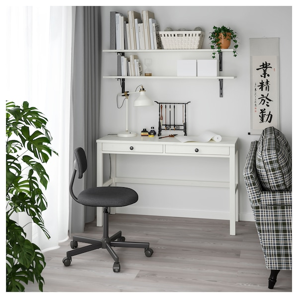 HEMNES Biurko z 2 szufladami, biała bejca, 120x47 cm