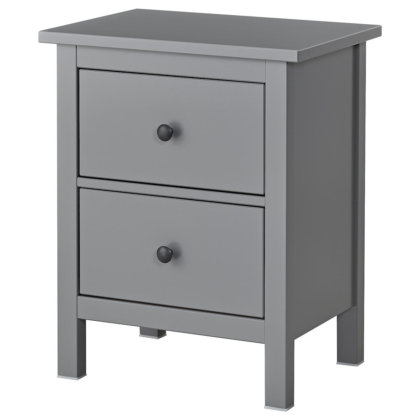 IKEA HEMNES Komoda, 2 szuflady, szary, 54x66 cm