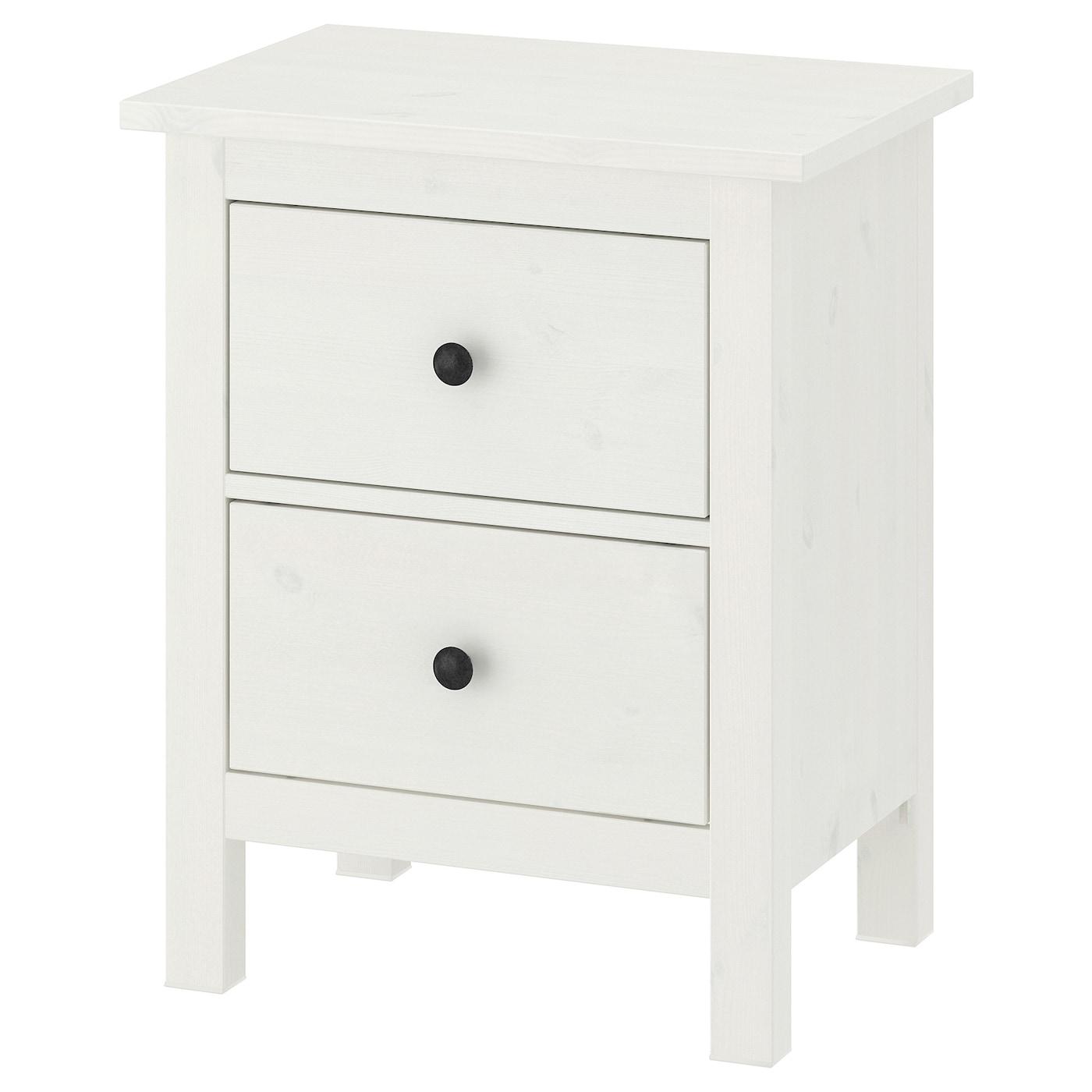 IKEA HEMNES biała, sosnowa komoda z dwiema szufladami, 54x66 cm
