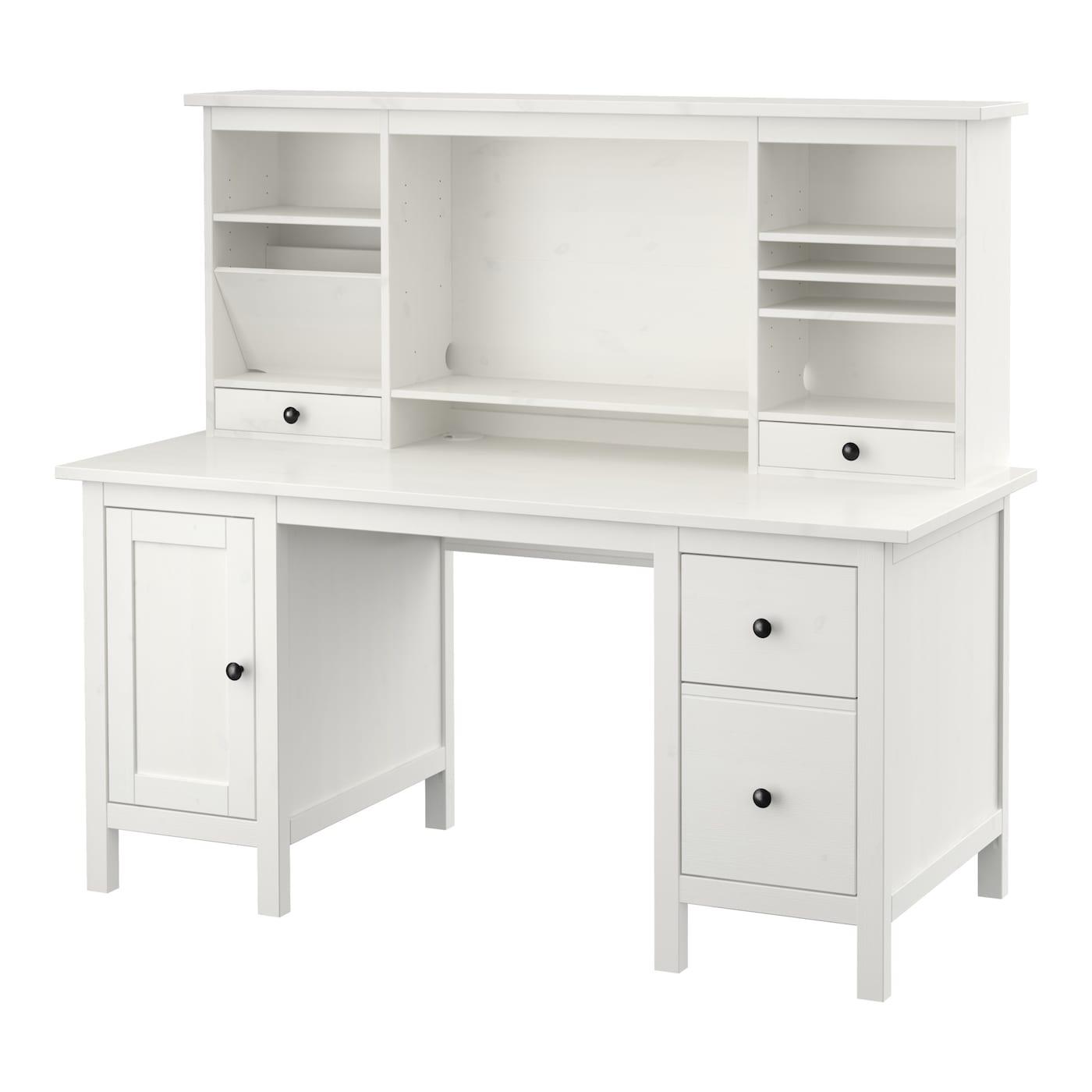 IKEA HEMNES sosnowe, pokryte białą bejcą biurko z dostawką, 155x137 cm
