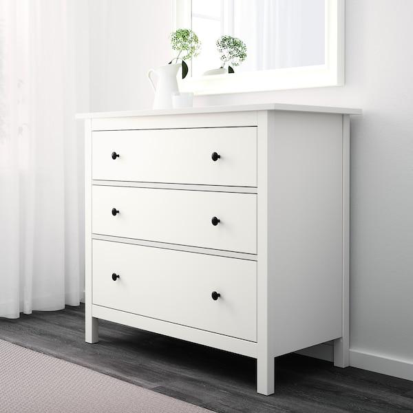 HEMNES Komoda, 3 szuflady, biały, 108x96 cm