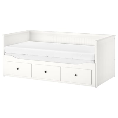 HEMNES Leżanka z 3 szufladami, 2 materace, biały/Malfors średnio twardy, 80x200 cm