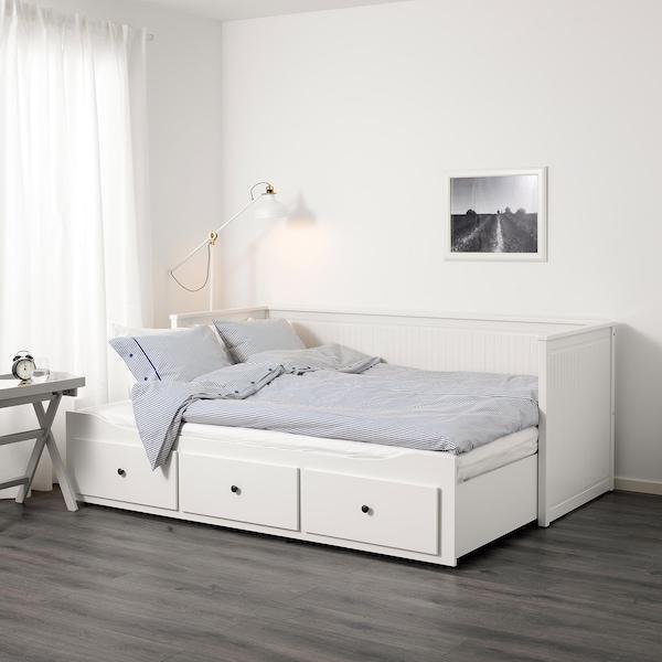 HEMNES Leżanka z 3 szufladami, 2 materace, biały/Moshult twardy, 80x200 cm