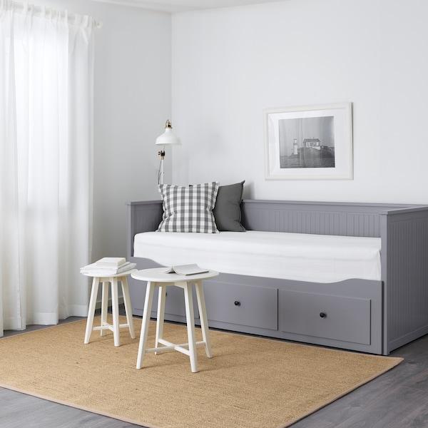 HEMNES Leżanka z 3 szufladami, 2 materace, szary/Malfors średnio twardy, 80x200 cm
